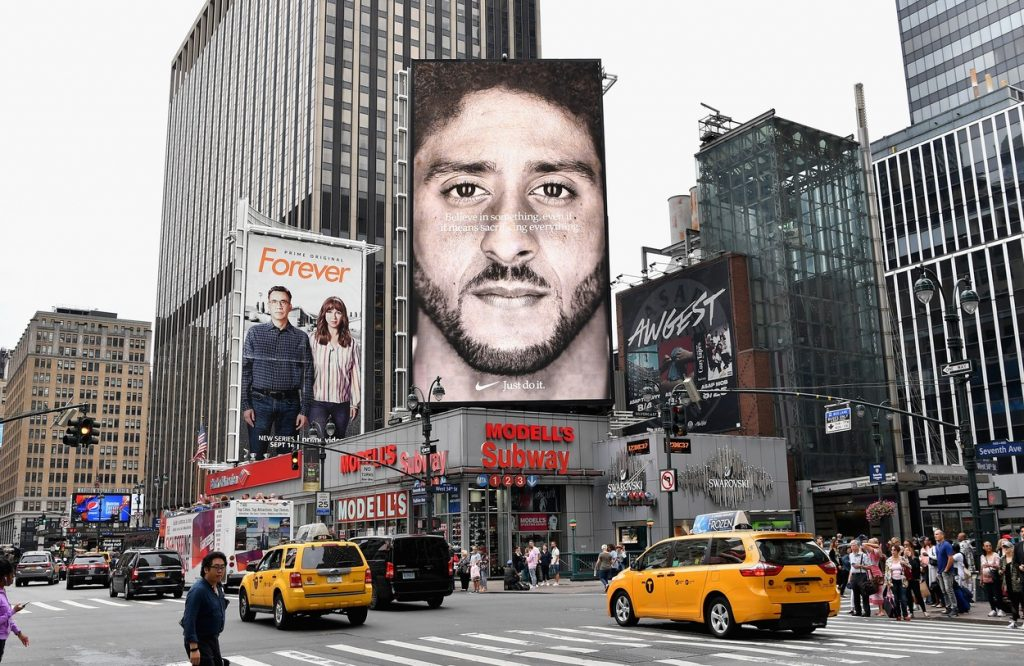 Colin Kaepernick on a billboard in NYC advertising for Nike.