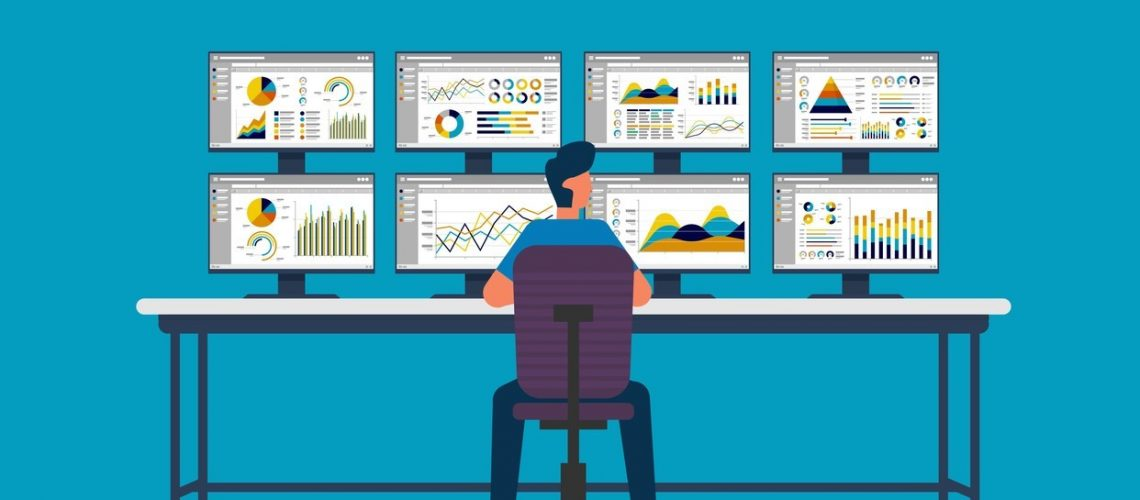 businessman sitting and monitoring stock market on screen PC. database information graph in data center room. analysis report statistics, investment, website SEO monitor on table,Image: 531312186, License: Royalty-free, Restrictions: , Model Release: no